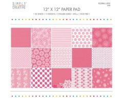 Motiivpaberite plokk Simply Creative 30x30cm, 20 lehte - Floral Lace, pink