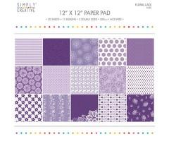 Motiivpaberite plokk Simply Creative 30x30cm, 20 lehte - Floral Lace, purple