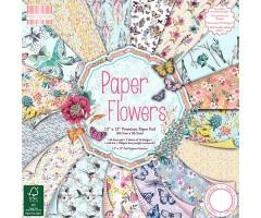 Motiivpaberite plokk First Edition 30x30cm, 48 lehte - Paper Flowers