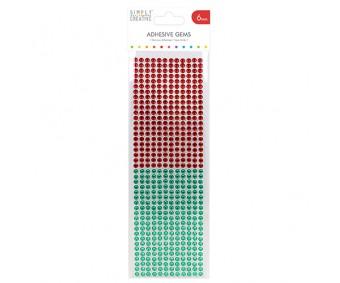 Kleepuvad kristallkivid Simply Creative - punane/roheline, 6mm