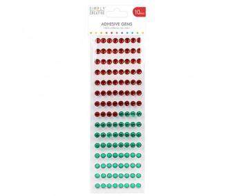 Kleepuvad kristallkivid Simply Creative - punane/roheline, 10mm