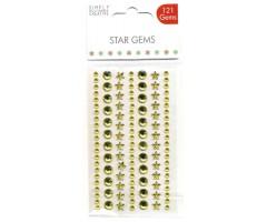 Kleepuvad kristallkivid Simply Creative - kuldsed tähed