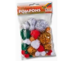 Värvilised tutid Pompons, 30 tk - jõuluvärvid