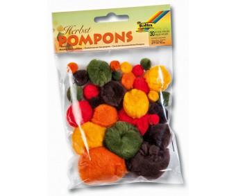 Värvilised tutid Pompons, 30 tk - sügisvärvid