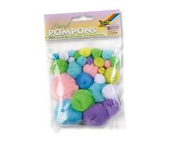 Värvilised tutid Pompons, 30 tk - pastelsed