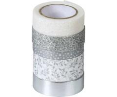 Dekoratiivteipide komplekt 5tk - hõbedane - Heyda