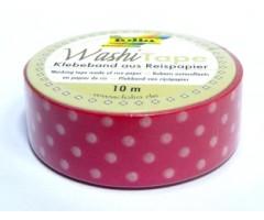 Washi teip Folia 15mm x 10m - roosa valgete täppidega