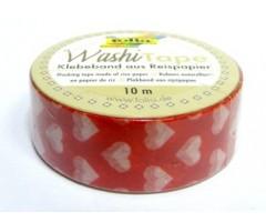 Washi teip Folia 15mm x 10m - punane südametega