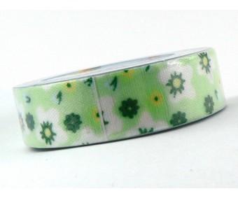 Tekstiilteip Folia 15mm x 4m - lilled, roheline