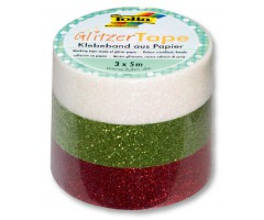 Sädelev teip Folia Glitzer 3 x 5m - punane, roheline, valge