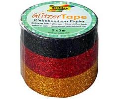 Sädelev teip Folia Glitzer 3 x 5m - must, punane, kuldne