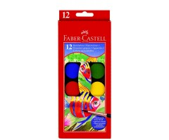 Vesivärvide komplekt Faber-Castell - 12 värvi + pitsel