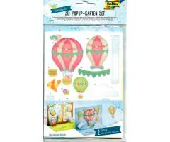 3D pop-up kaartide komplekt Folia - öökullid ja õhupallid