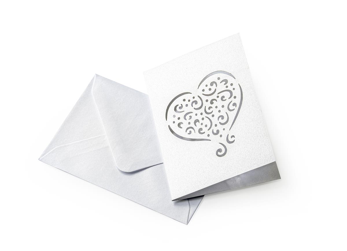 034aa194102 Kaardi ja ümbriku komplekt Galeria Papieru 7x10 cm, 5 tk - süda, Pearl White